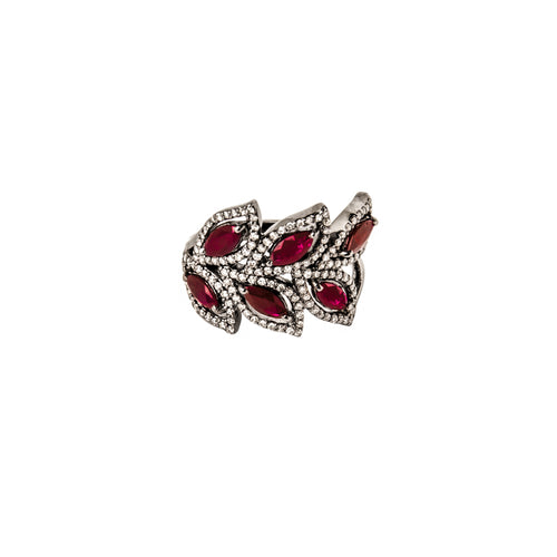 Six Ruby & Diamond Blossoms Ring