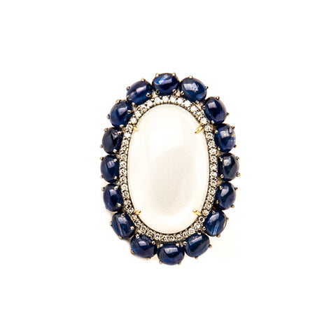 Nine Sapphire & Diamond Square Ring