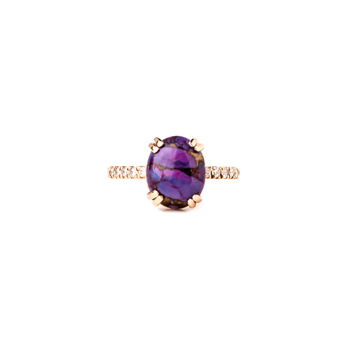 Purple Turquoise & Rose Gold Wanderlust Oval Ring