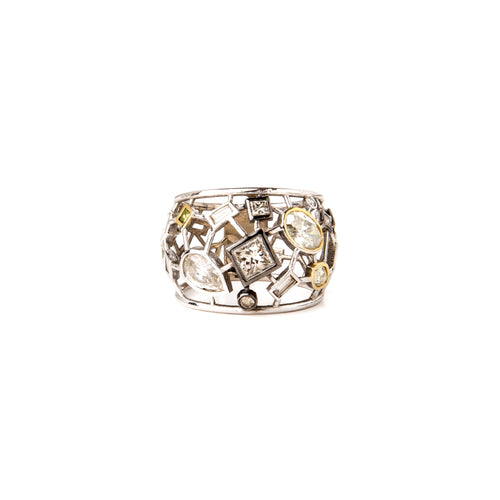 White & Yellow Diamond Mosaic Ring