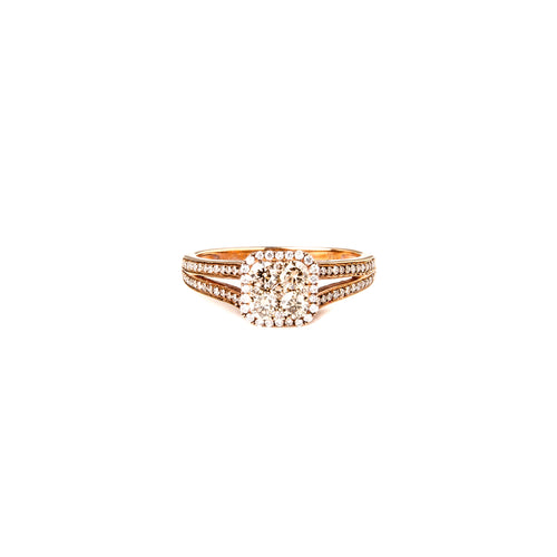 Champagne & White Diamond Small Square Ring