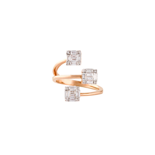 Rose Gold & Diamond Gilded Squares Ring