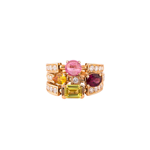 Tourmaline & Diamond Prismatic Ring