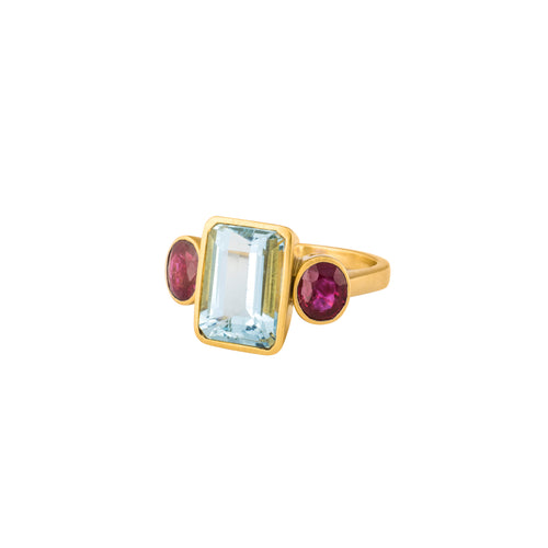 Aquamarine & Ruby Trilogy Ring