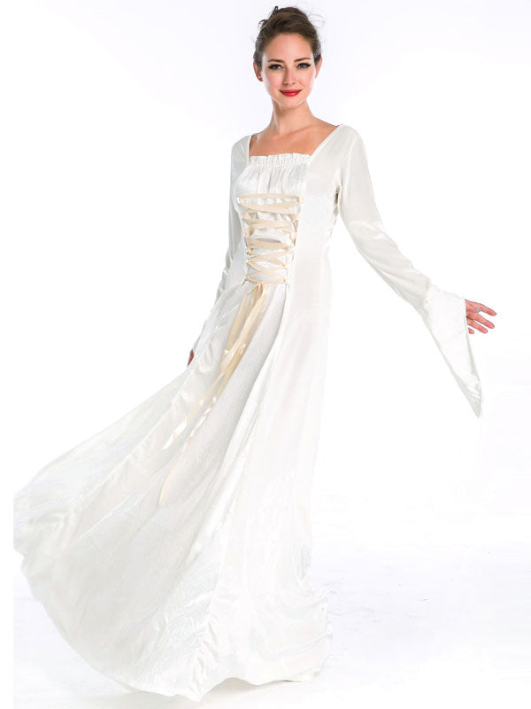 Renaissance Wedding Dress.Renaissance Medieval Gothic White Wedding Dress