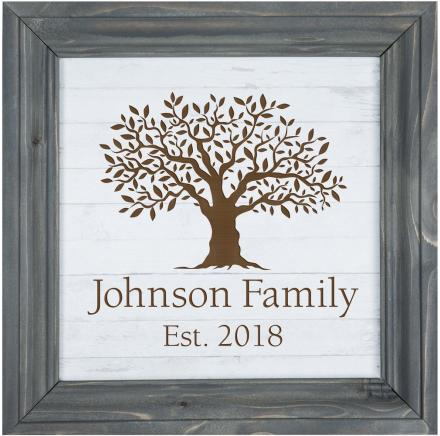 White Faux Wood Framed Sign