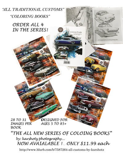 Custom Car Revival Coloring Books, ALL FOUR!