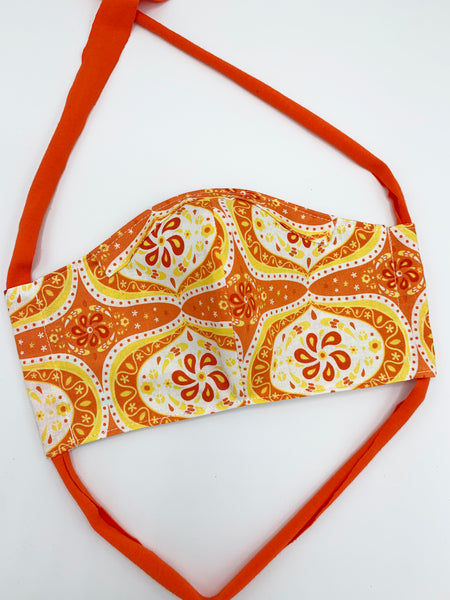 Orange Paisley Mask