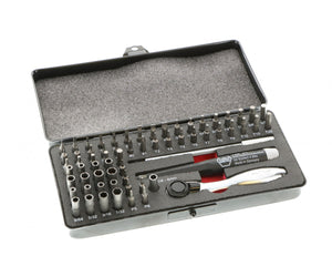 Ratchet and Micro Bits -Master Tech 65 Piece Set - ESD Handle, Mini In Metal Storage Box