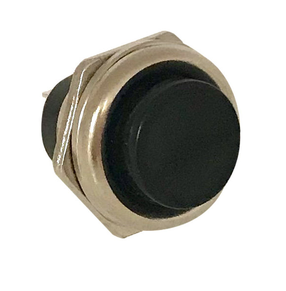 Push Button Switch - Black  -  MOM  - SPST OFF/(ON)