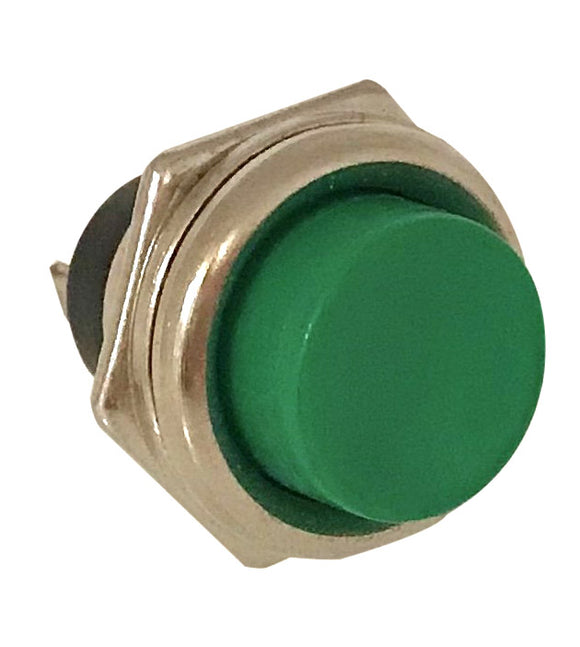Push Button Switch - Green  -  MOM  -  SPST  --  ON/(OFF)