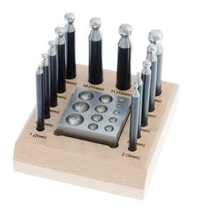 Dapping Block - 14pc 2 in 1 Dapping Block & 12pc Punch Set