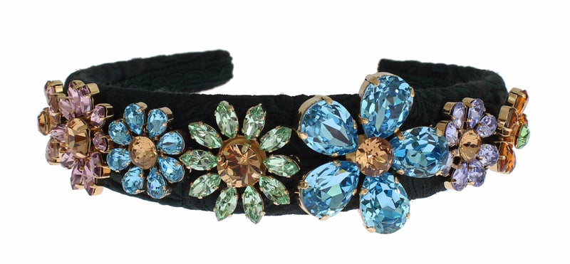 Green Brocade Gold Crystal Floral Headband Hair Diadem