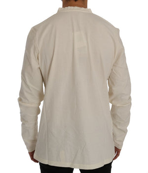Beige Long Sleeve Henley T-Shirt