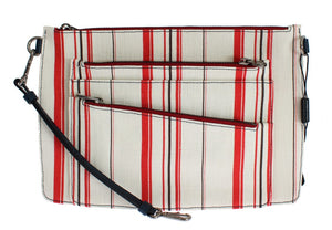 White Red Striped Linen Shoulder Messenger Bag - ShaShaStyles