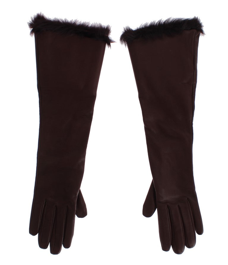 Bordeaux Leather Fur Silk Lined Elbow Gloves