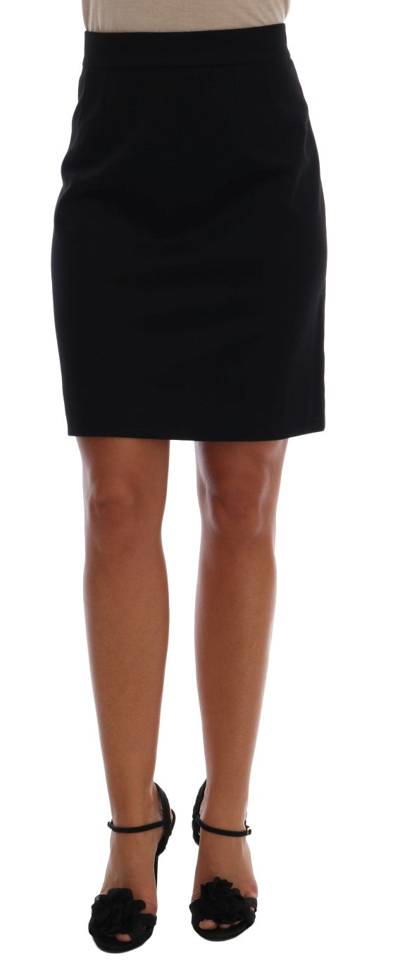 Black Cashmere Straight Pencil Skirt