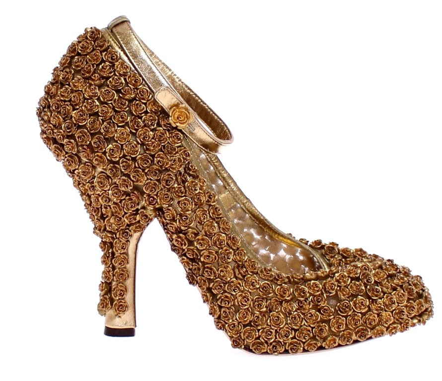 Gold Floral Metal Leather Pumps