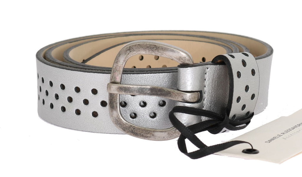 Silver Leather Buckle Belt