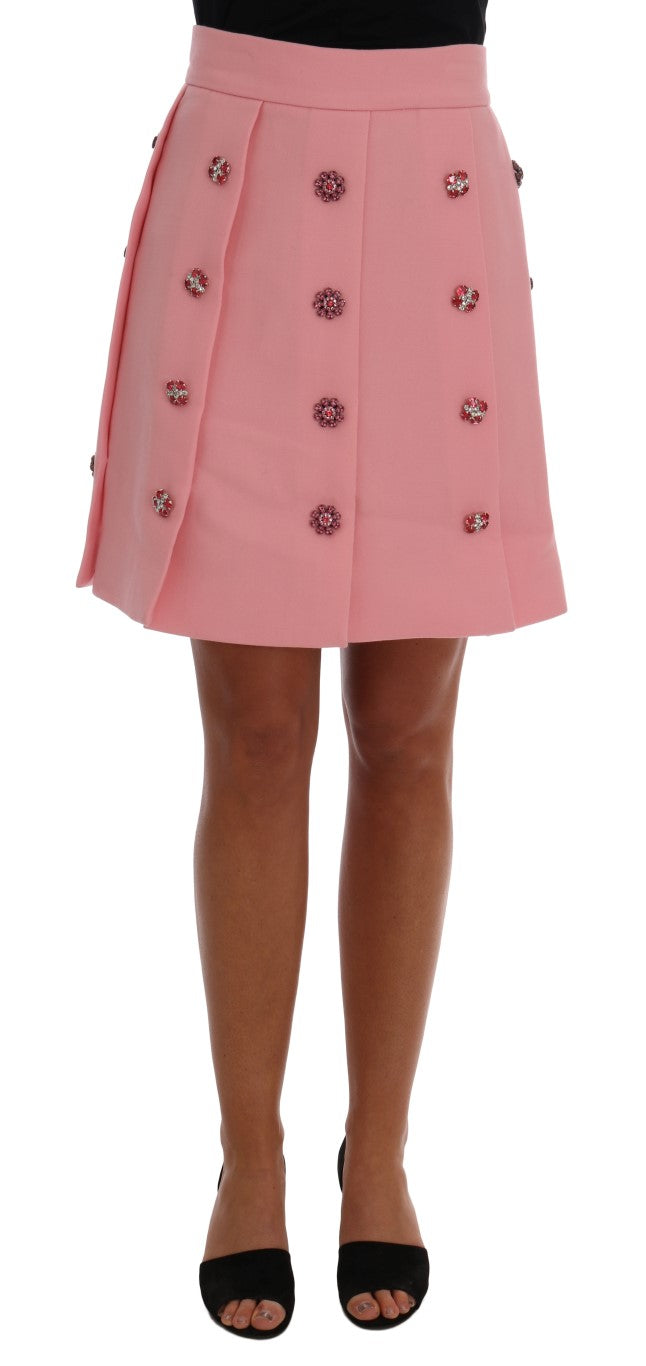 Pink Wool Crystal A-Line Skirt