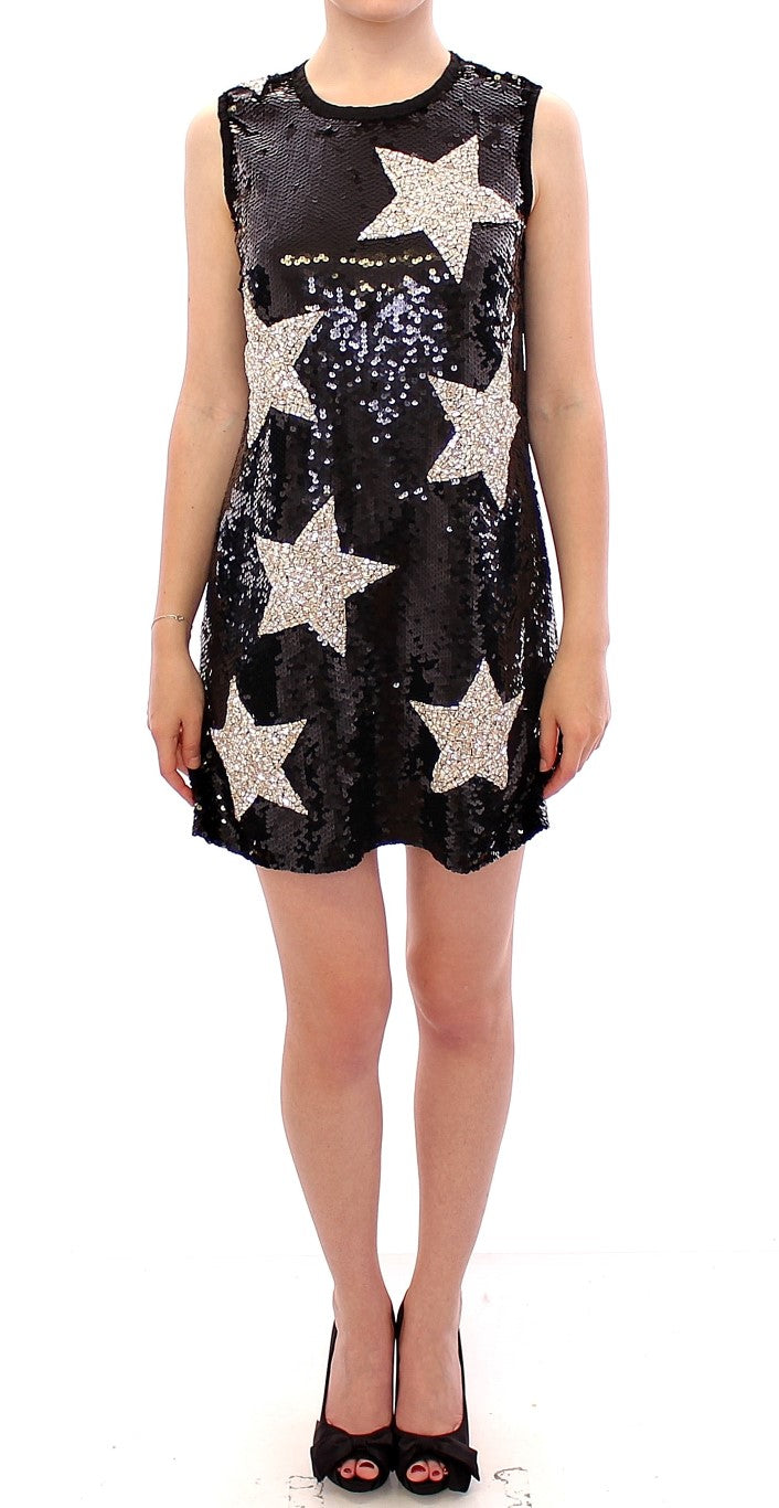 Masterpiece black crystal swarovski stars sheath dress
