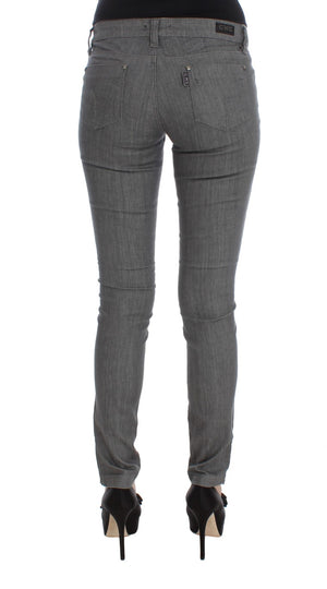 Gray Cotton Blend Slim Fit Jeans