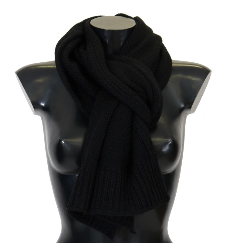 Black 100% Wool Knitted Scarf