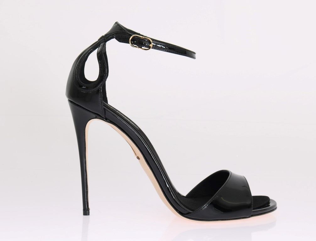 Black Patent Leather Satin Heels Pumps