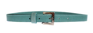 Green Leather Silver Buckle Logo Belt - ShaShaStyles