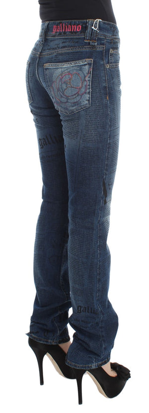 Blue Wash Cotton Blend Slim Fit Bootcut Jeans