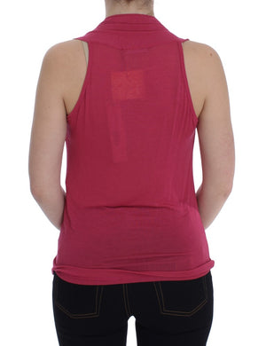 Pink Silk Sleeveless Blouse Top