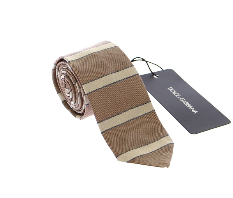 Brown Silk Pattern Slim Neck Tie