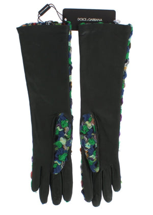 Multicolor Leather Long Gloves