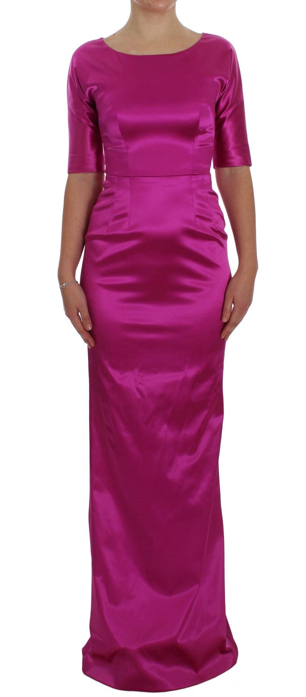 Pink Stretch Long Sheath Ball Gown