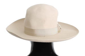 White Rabbit Fur Wide Brim Hat