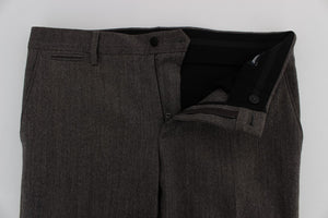 Brown Wool Stretch Slim Fit Pants