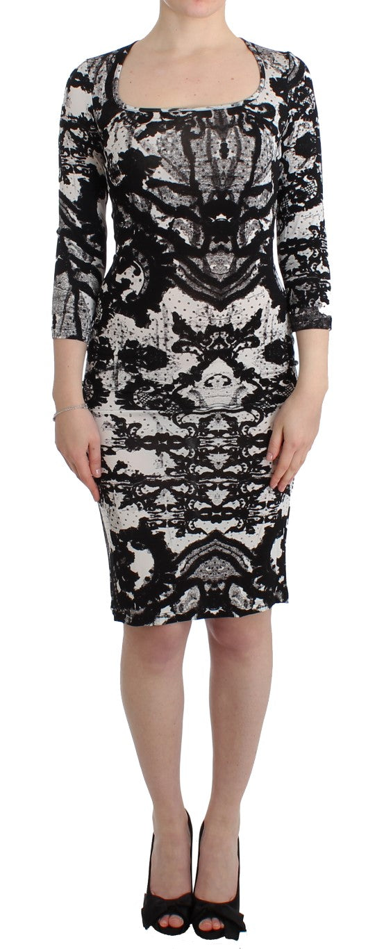Black printed sheath dress