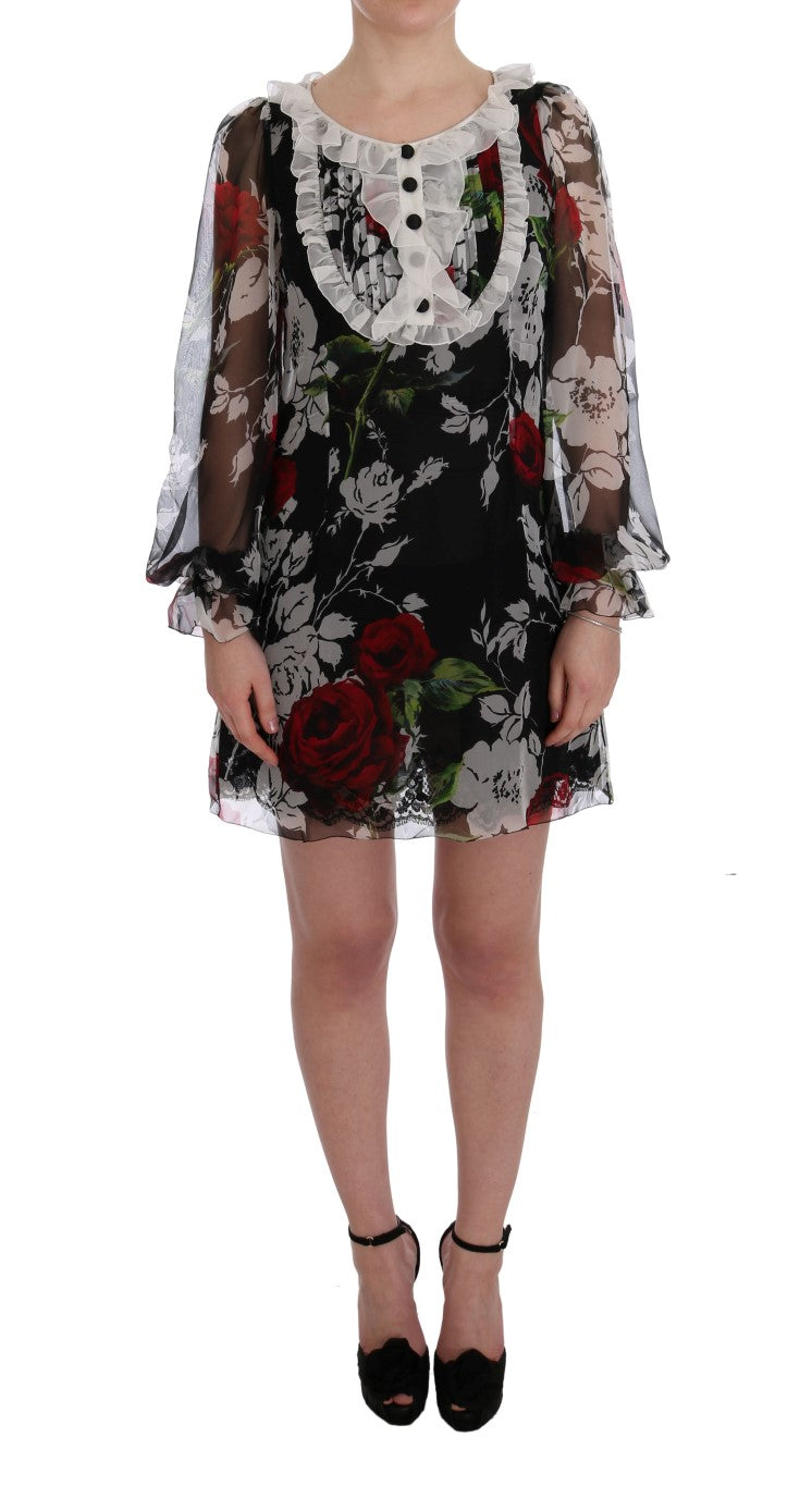 Multicolor Roses Shift Short Dress