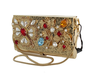 Gold Brass Crystal Clutch Bag