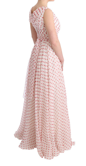 White Red Polka Dotted Silk Dress