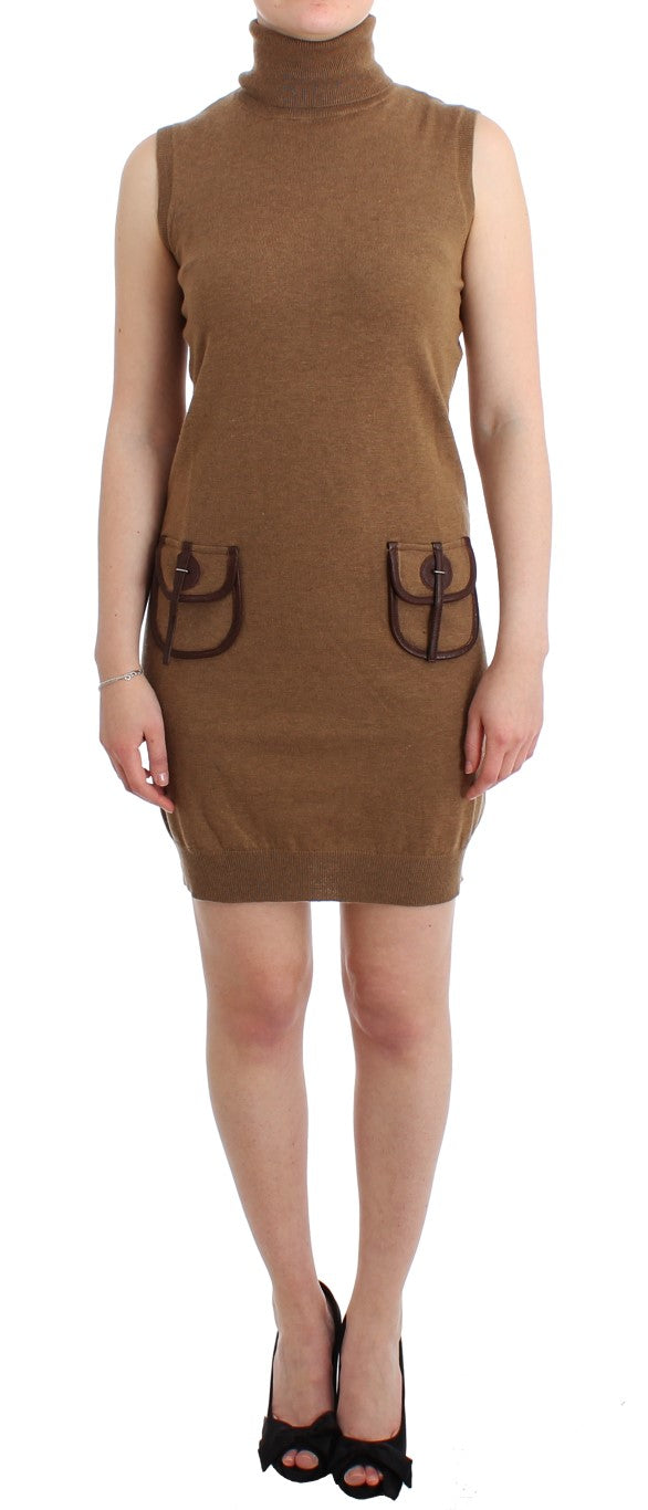 Brown knitted wool dress