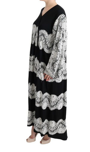 Black White Floral Applique Kaftan Dress