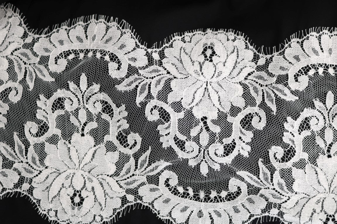 Black white floral applique cotton skirt size m