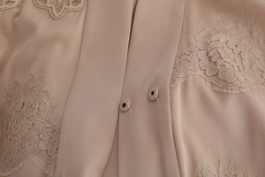Beige Floral Applique Lace Kaftan Dress