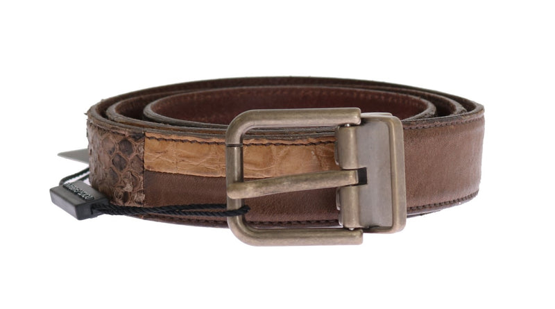Brown Cayman Pyton Leather Belt
