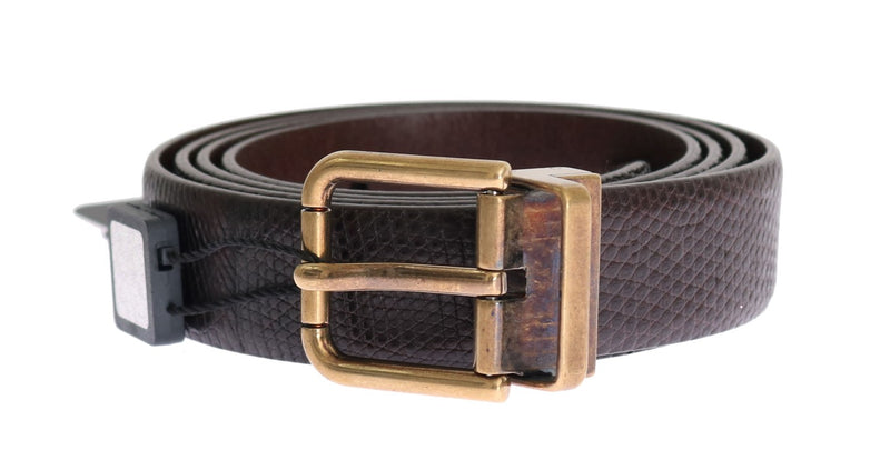 Brown Lizard Leather Gold Buckle Belt