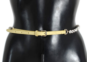 Yellow Leather Clear Crystal Waist Belt