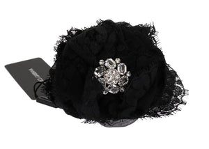 Black Floral Lace Crystal Hair Claw