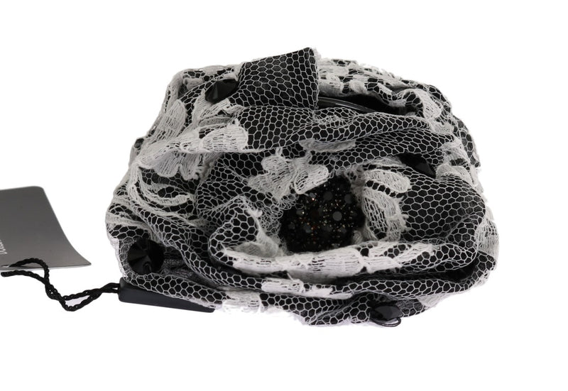 Black White Floral Lace Crystal Hair Claw