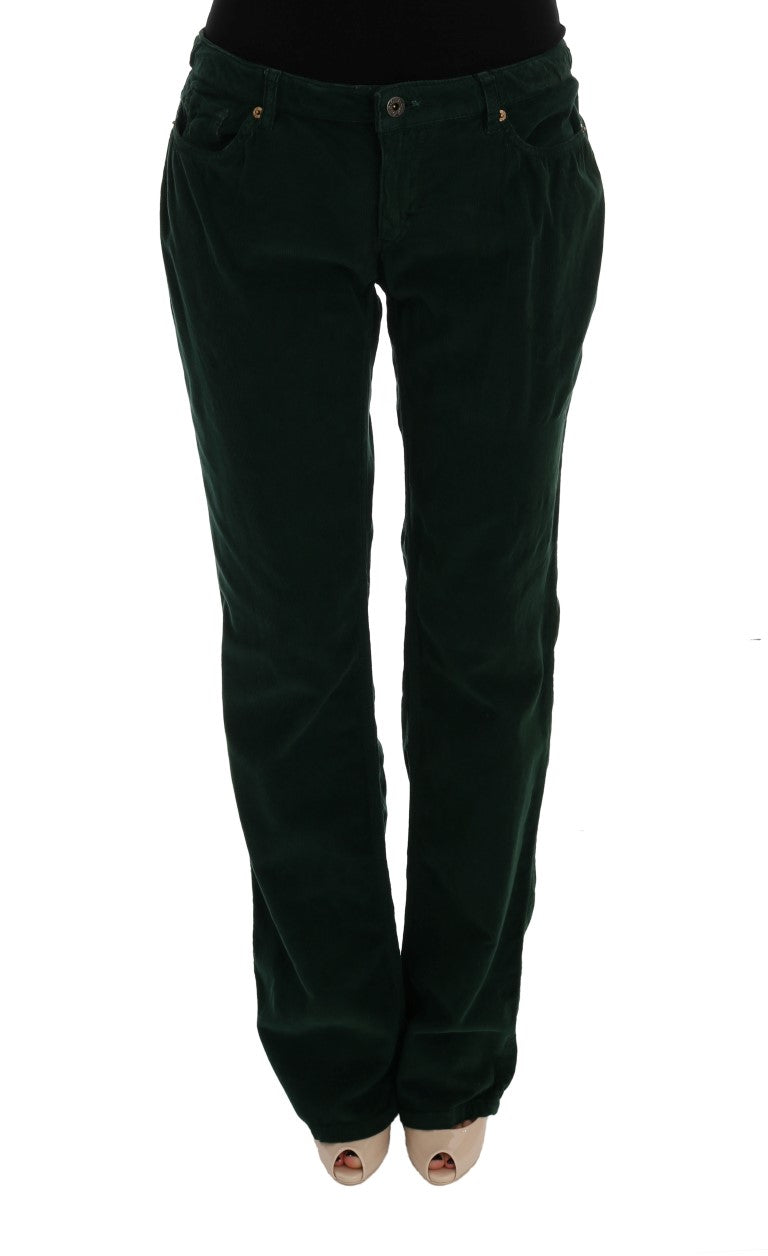 Green Cotton Corduroys Jeans